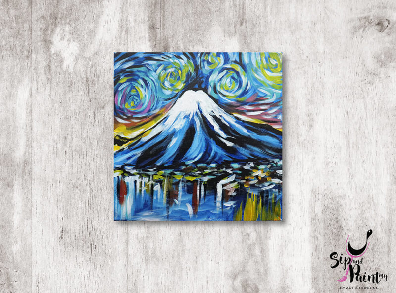 Mount-Fuji-Starry-Night-creative-dining-experience-in-kl-mont-kiara-hartamas-sip-and-paint-in-restaurant-01