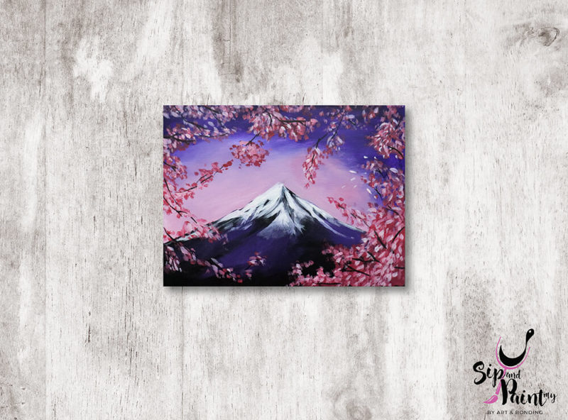 Mount-Fuji-in-Spring-wine-and-canvas-art-class-wine-beer-lunch-nightlife-sip-and-paint-in-restaurant-saturday-workshop-01