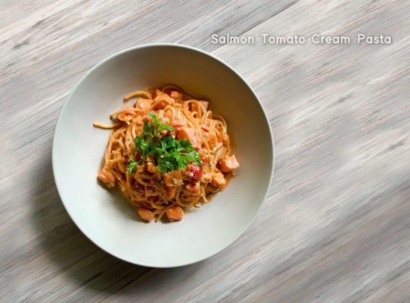Salmon Tomato Cream Pasta - HUBBA