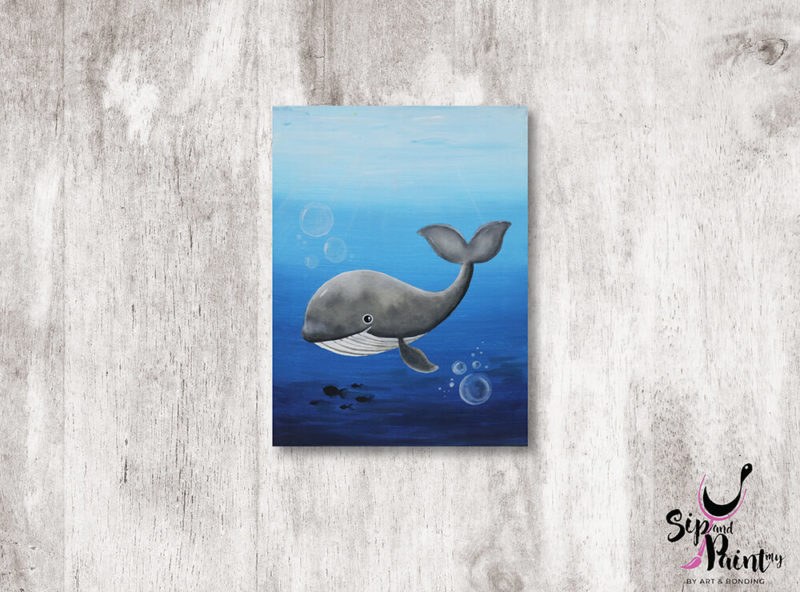 Whale-Under-The-Sea-wine-and-canvas-art-class-wine-beer-lunch-nightlife-sip-and-paint-in-restaurant-saturday-workshop-01
